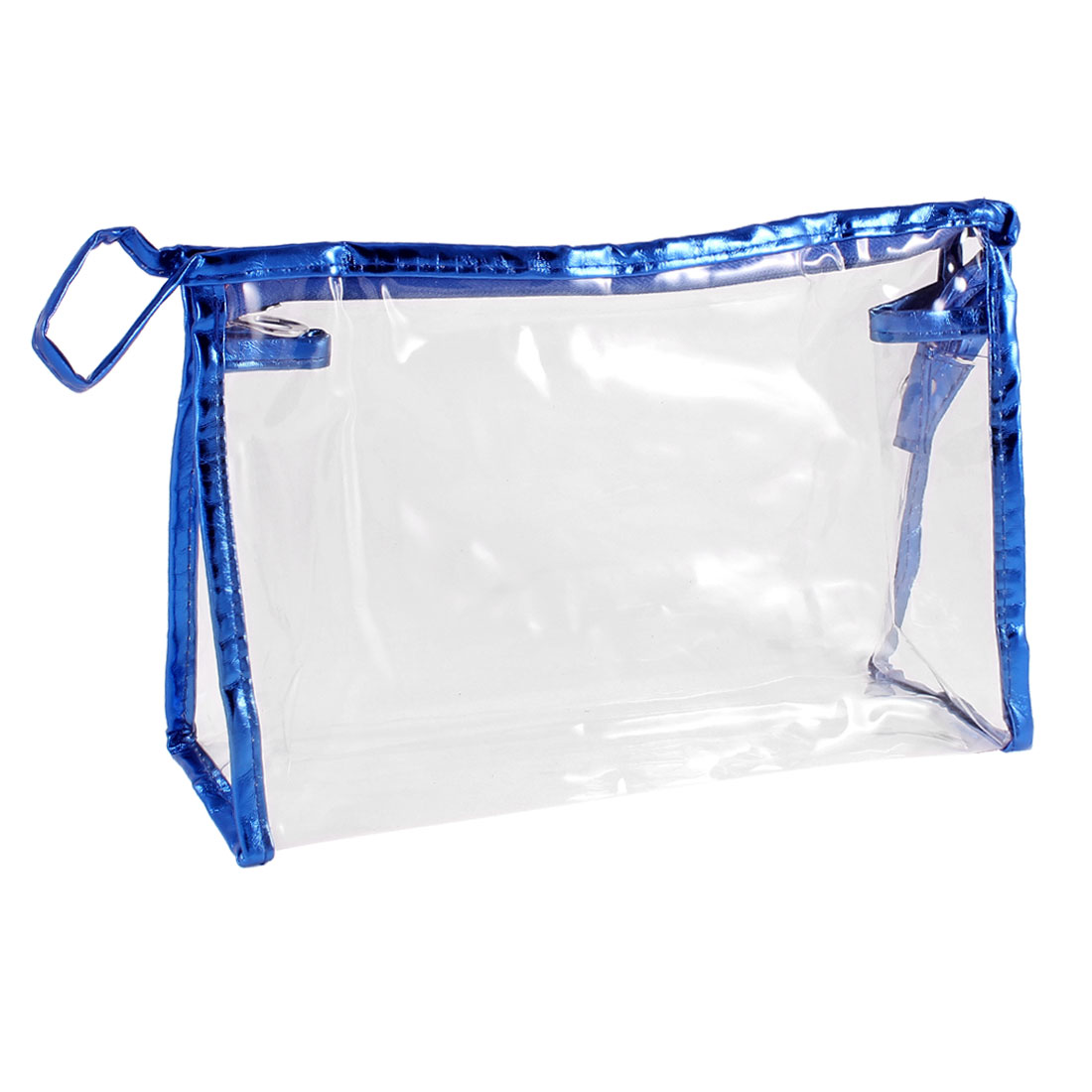 Portable Rectangular Blue Faux Leather Frame Transparent Makeup Holder Bag 27cmx8cmx16cm