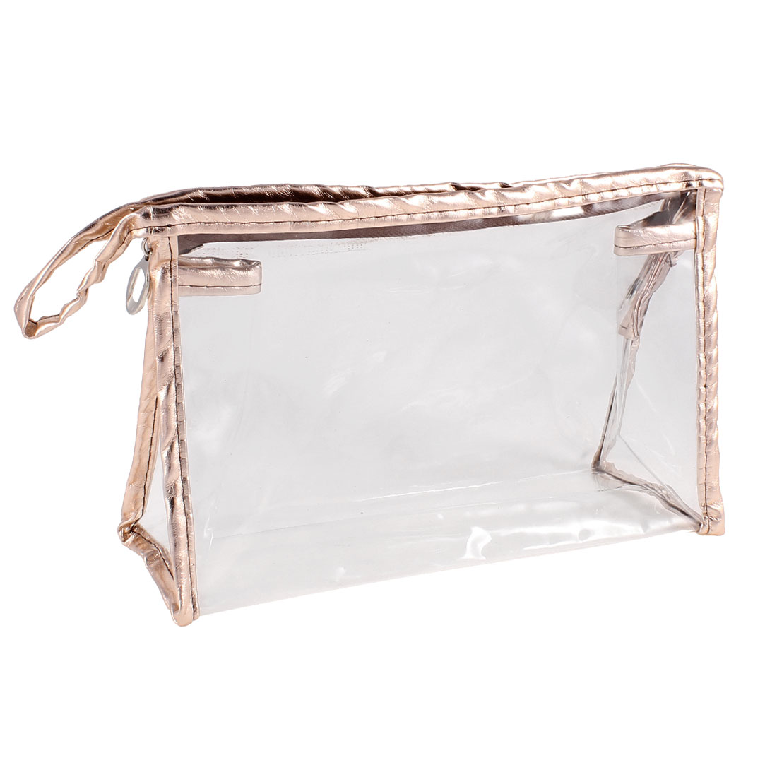 Travel Zippered Brown Faux Leather Frame Transparent Cosmetic Hand Bag Pouch