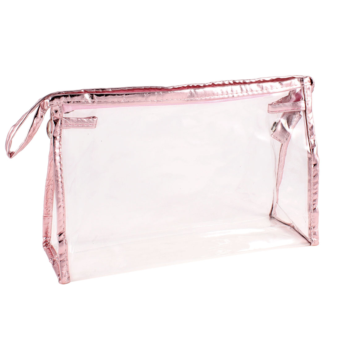 Travel Rectangular Pink Faux Leather Frame Transparent Makeup Holder Bag 27cmx8cmx16cm