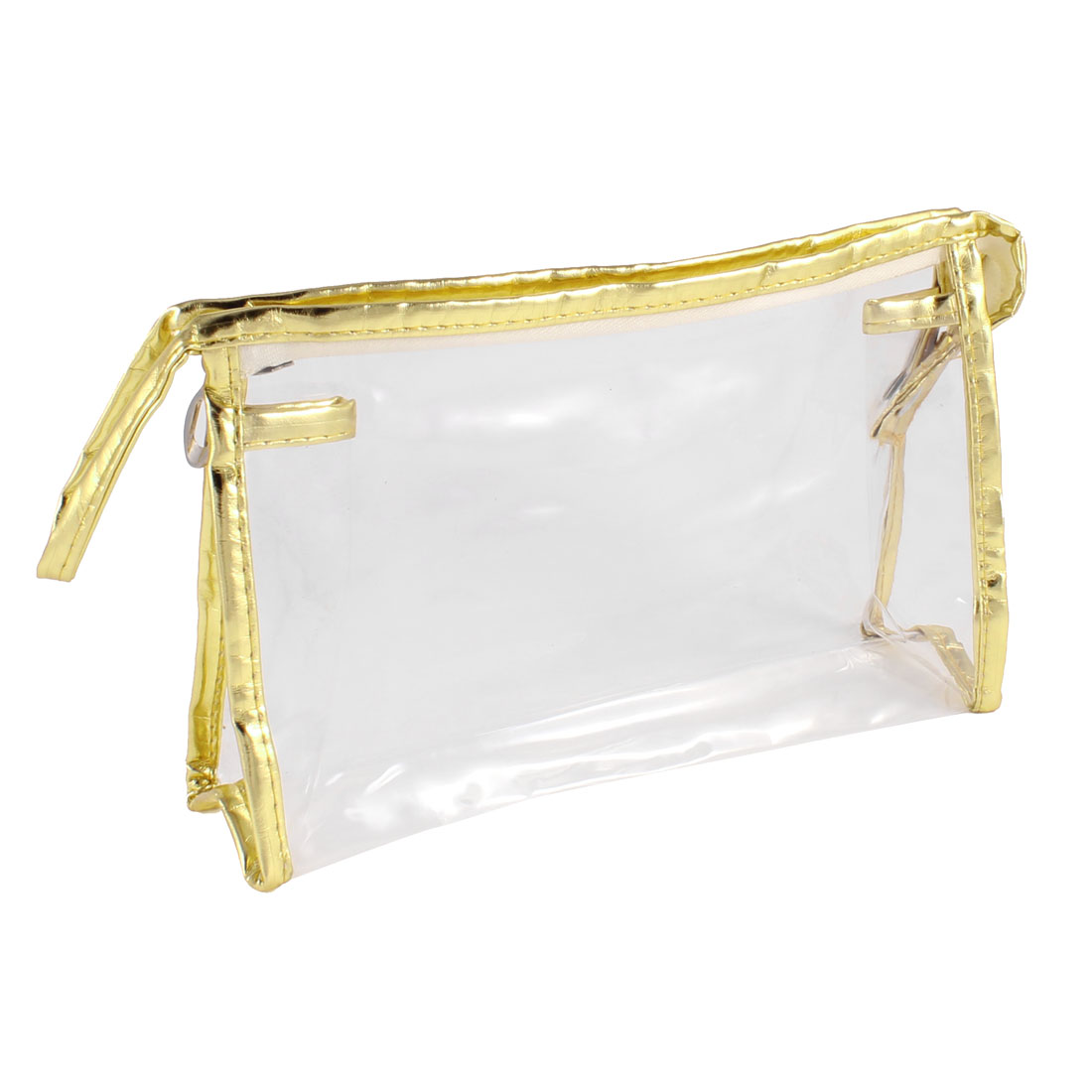 Zippered Gold Tone Faux Leather Border Transparent Make up Storage Case Bag