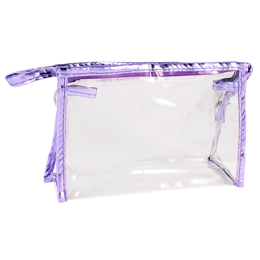 Zippered Purple Faux Leather Border Transparent Make up Storage Case Bag 27cmx8cmx16cm