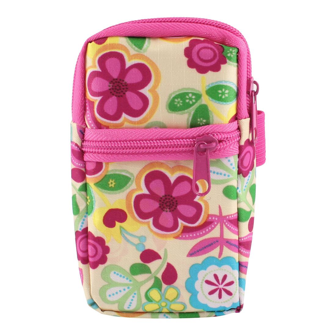 Fuchsia Green Florals Pattern Heart Dangle Zipper Closure Phone Wrist Bag Pouch