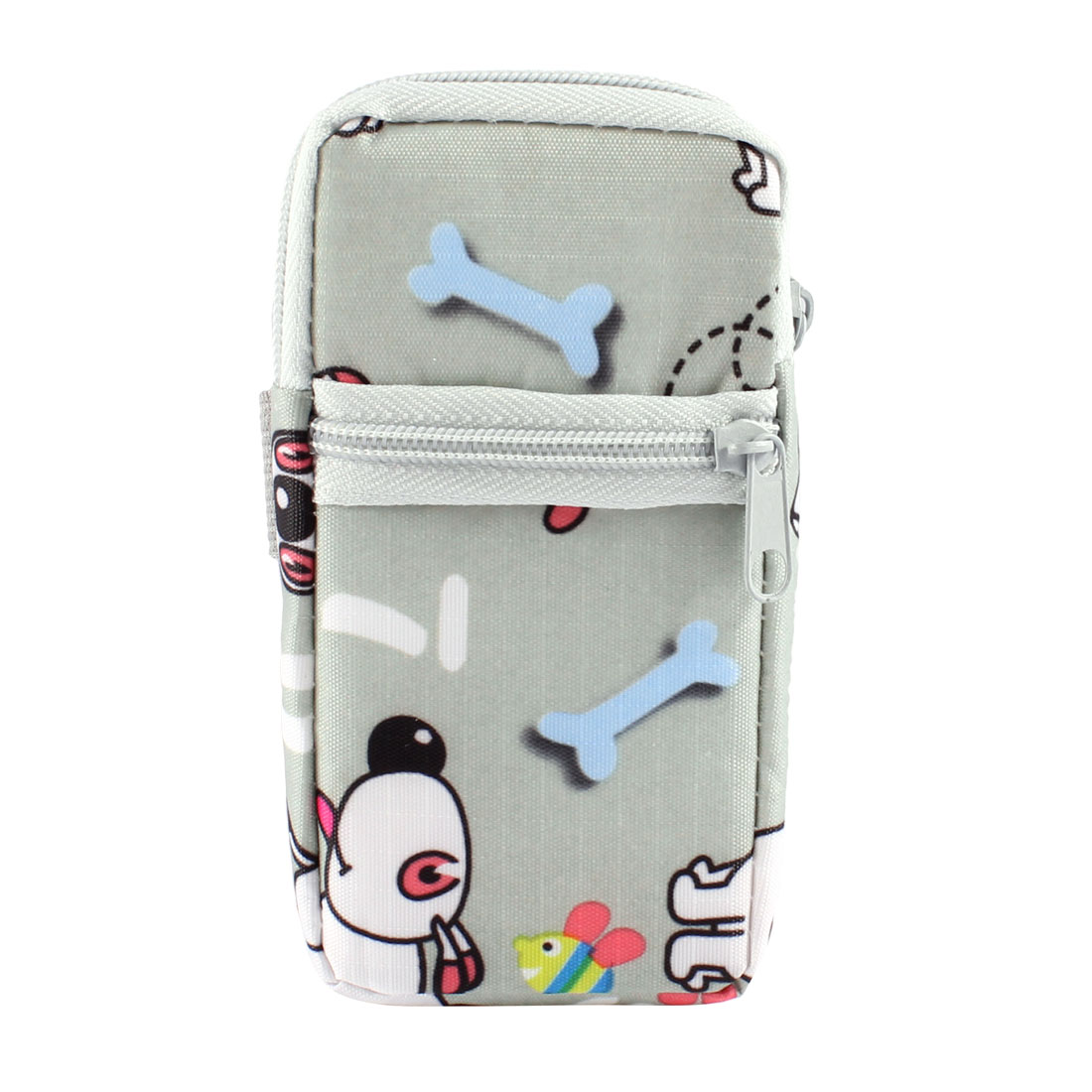 Gray White Cartoon Pattern Heart Dangling Zipper MP4 MP3 Phone Wrist Bag Pouch