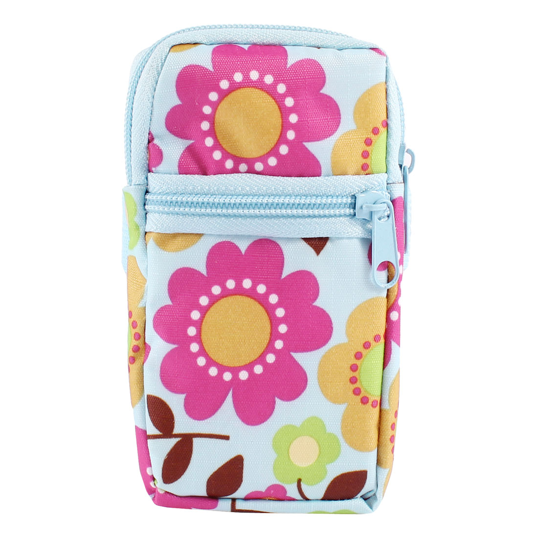 Light Blue Fuchsia Sunflowers Print Dual Compartments Zippered Phone Wrist Bag Holder