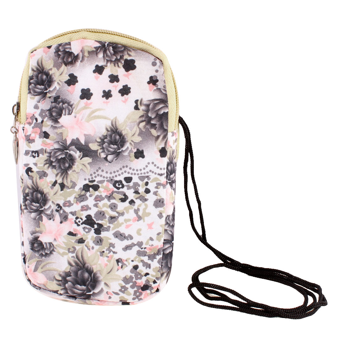 Rectangle Dark Gray Peony Pattern Stretchy Wrist Band Cell Phone Bag Pouch