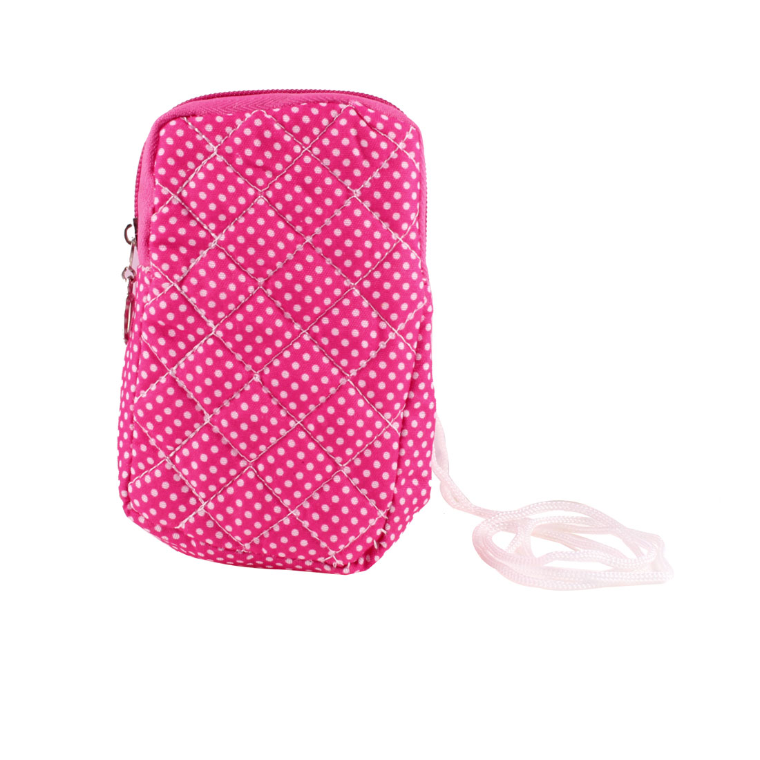 White Fuchsia Polka Dots Print Heart Dangle Zipper Closure Phone Wrist Bag Pouch