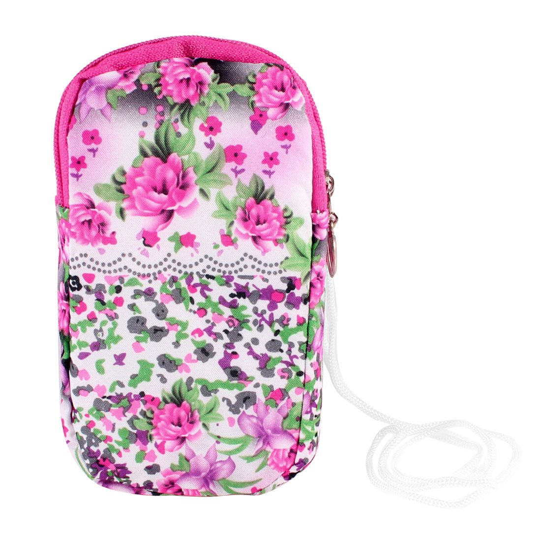 Green Fuchsia Peony Pattern Elastic Wrist Band Mobile Phone Bag Pouch