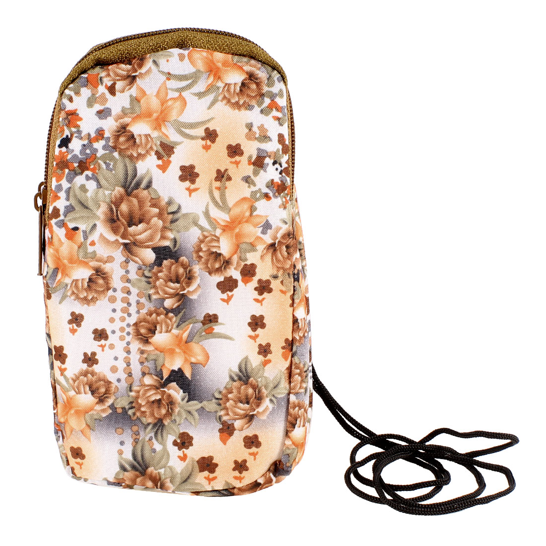 Brown Peony Flowers Prints Heart Pendant Zipper Closure Phone Wrist Bag Pouch