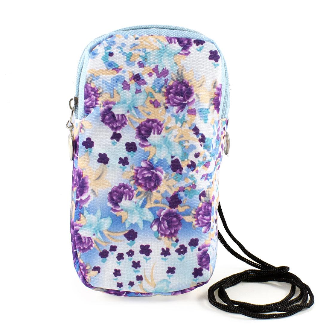 Light Blue Purple Peony Flower Prints Dual Layers Zip Up Phone Wrist Bag Holder