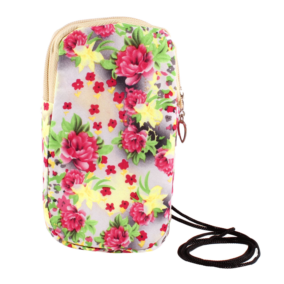 Watermelon Red Peony Flower Printed Dual Layers Zippered Phone Wrist Bag Holder