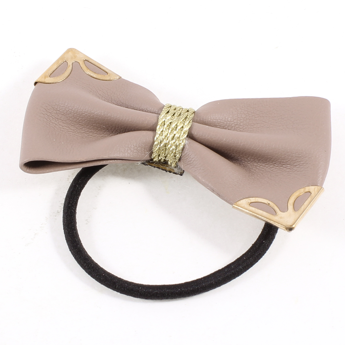 Rosy Brown Faux Leather Lovely Butterfly Knot Hair Tie Ponytail Holder