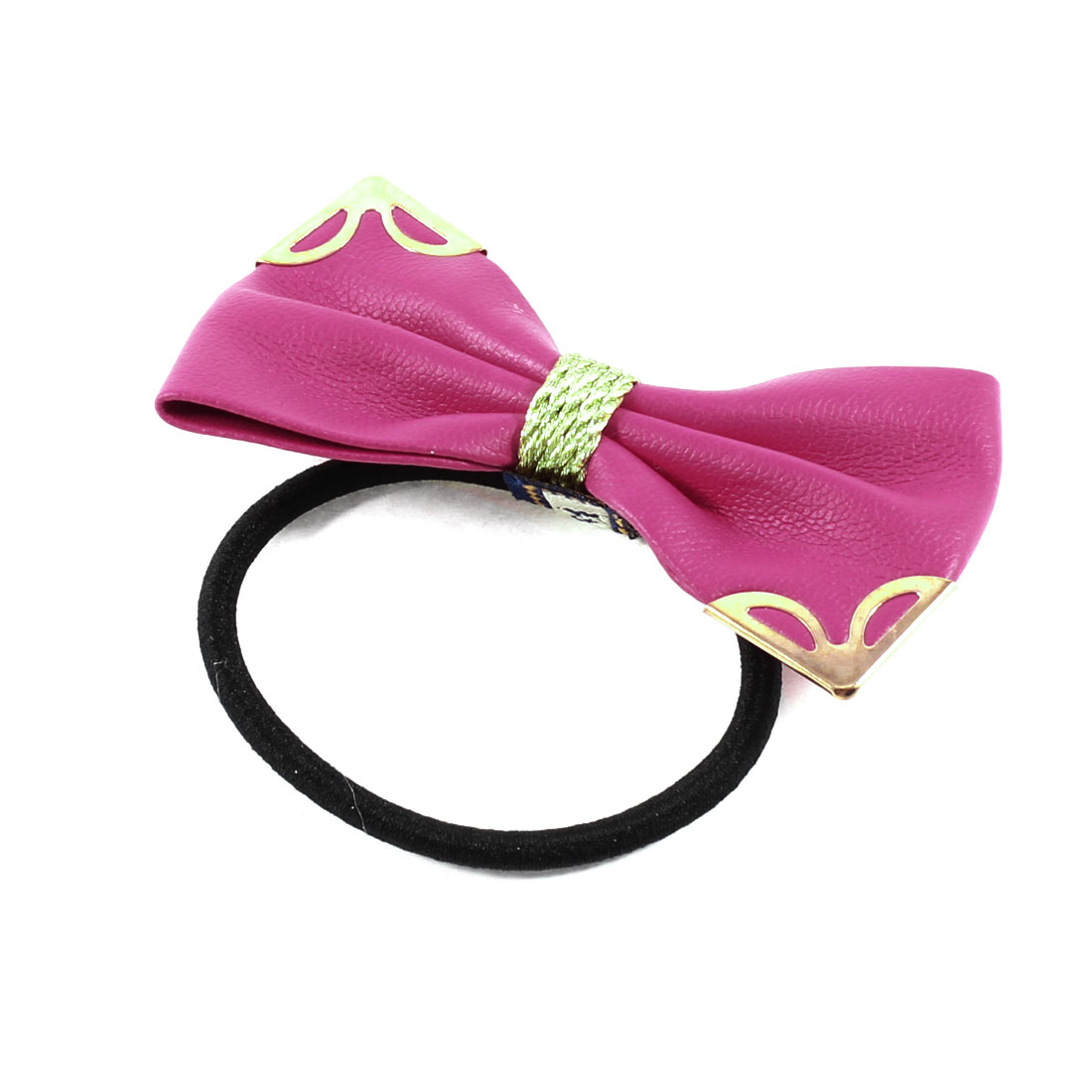 Metallic Decor Fuchsia Butterfly Knot Hair Rubber Band Ponytail Holder