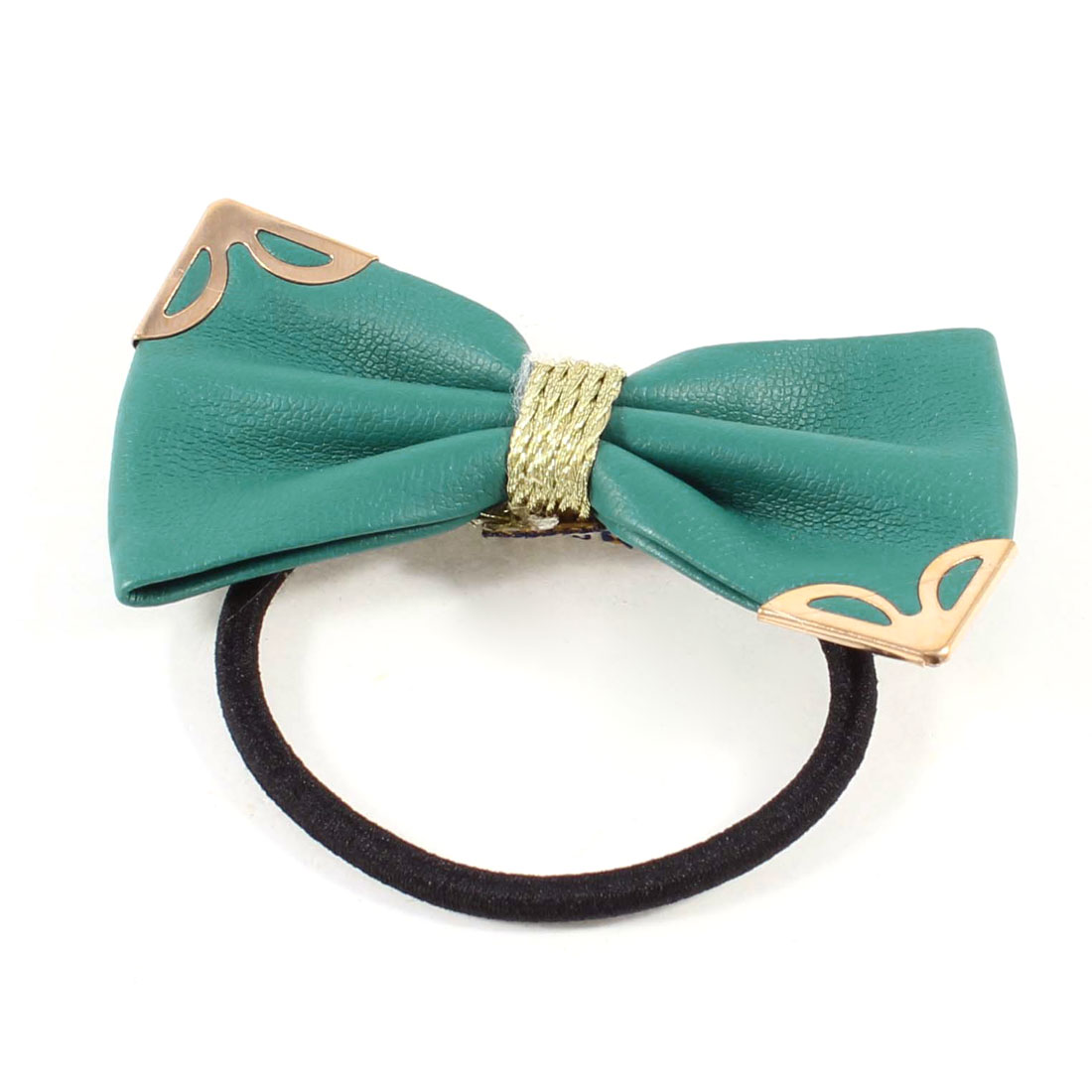 DIY Hairdo Dark Green Faux Leather Bowknot Decorated Hair Rubber Band Tie