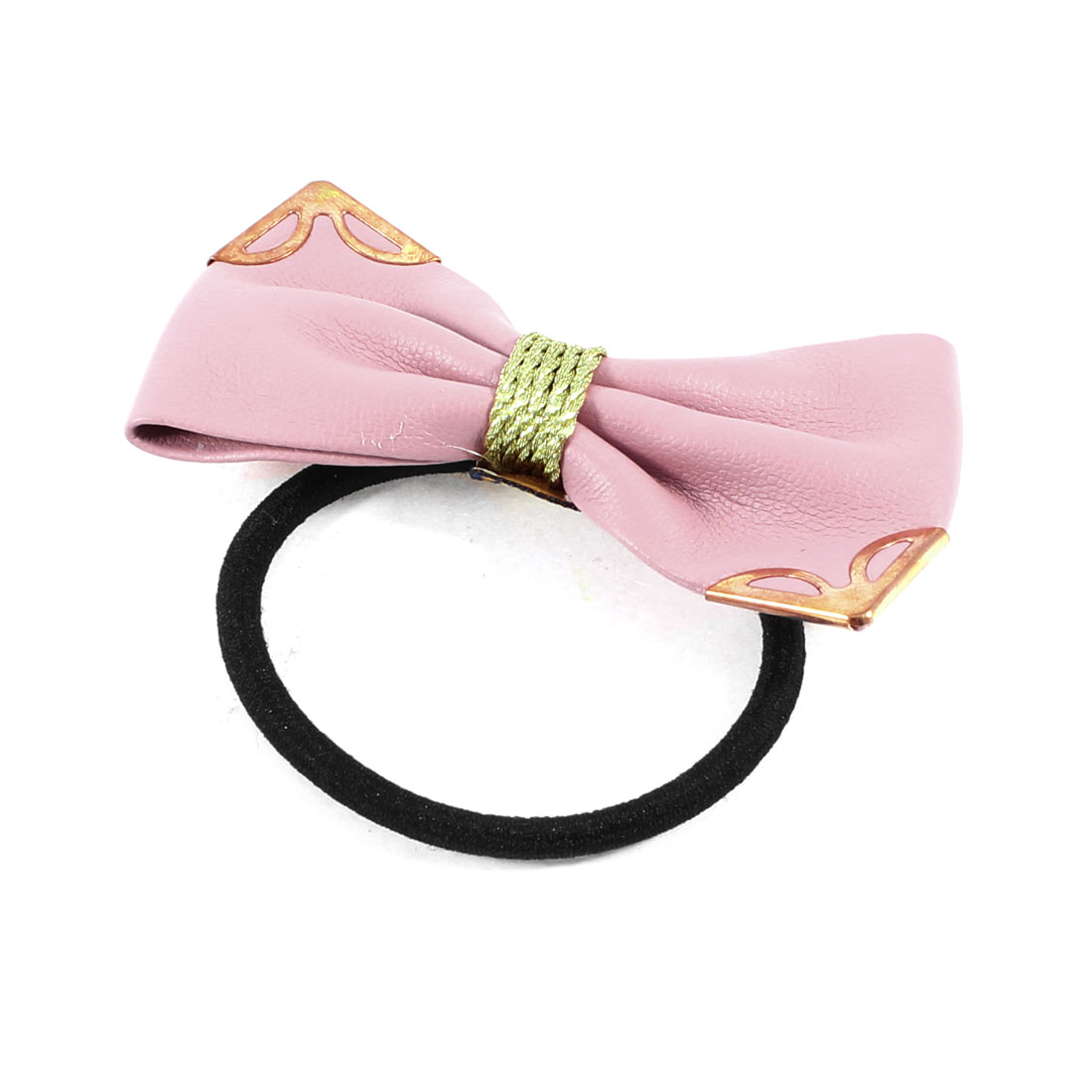 DIY Hairstyle Light Pink Faux Leather Bowknot Decorated Ponytail Holder