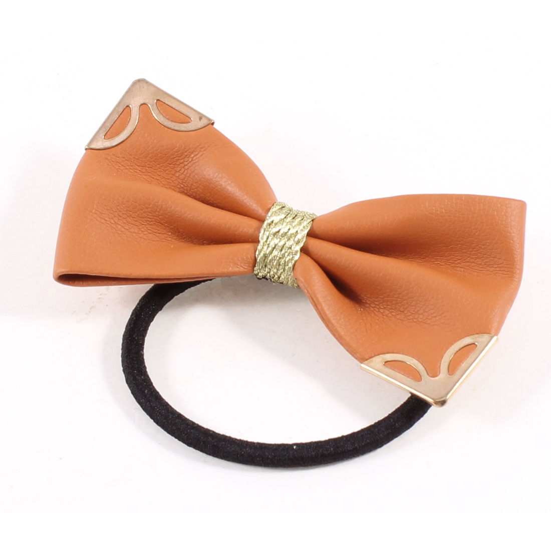Metallic Detail Dark Orange Bowknot Stretchy Hair Rubber Band Ponytail Holder