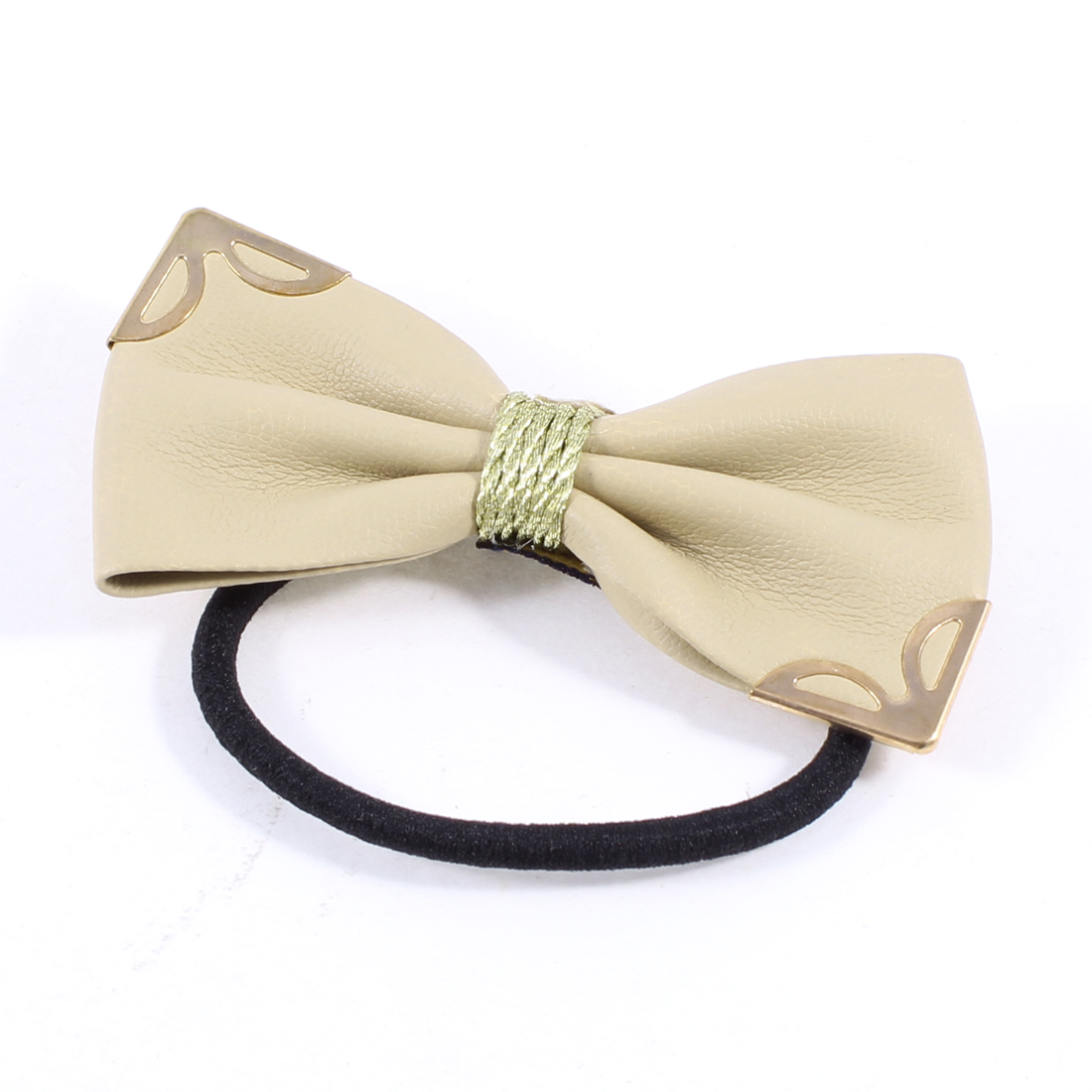 Metal Detail Light Khaki Bow Tie Elastic Hair Rubber Band Ponytail Holder
