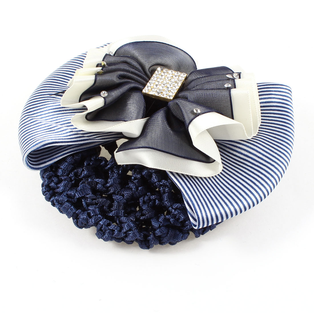 Rhinestones Inlaid Striped Bowknot Snood Net Hairclip Bun Cover Blue White