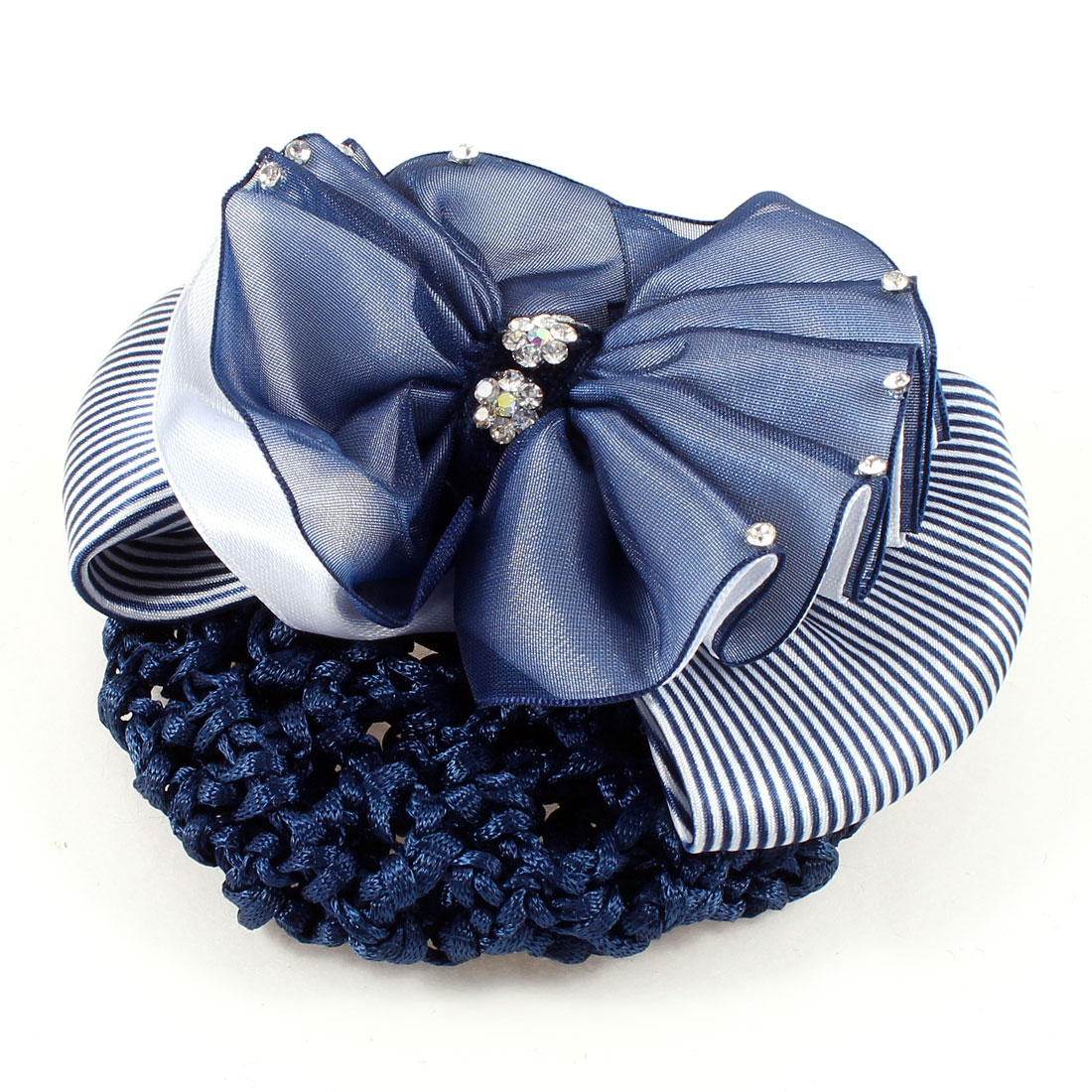 Blue White Ruffled Stripes Butterfly Knot Snood Net French Hair Clip