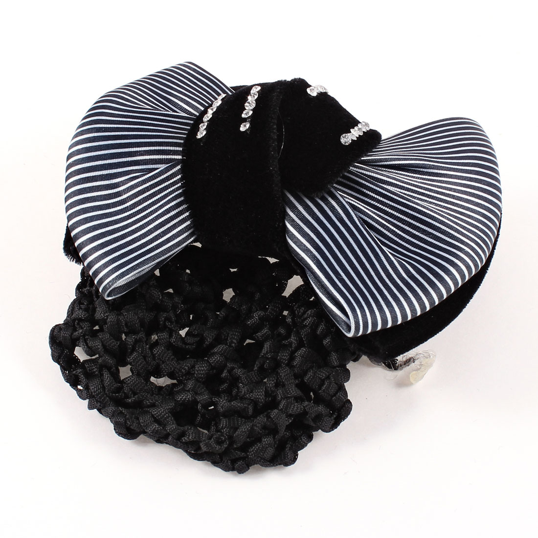 Black White Striped Dual Bowknot Snood Net French Hair Clip Barrette