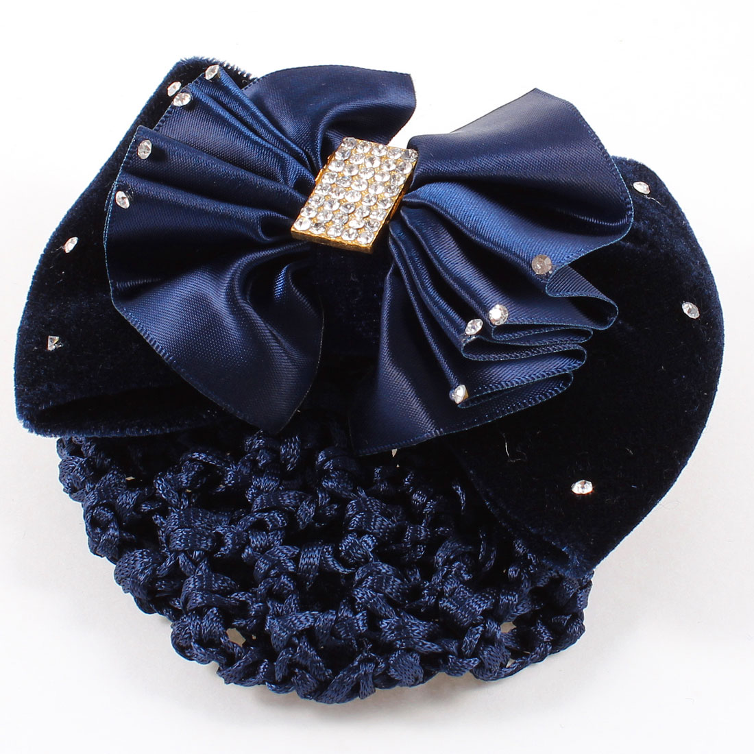 Pleated Bowknot Rhinestones Detail Snood Net French Hair Clip Dark Blue