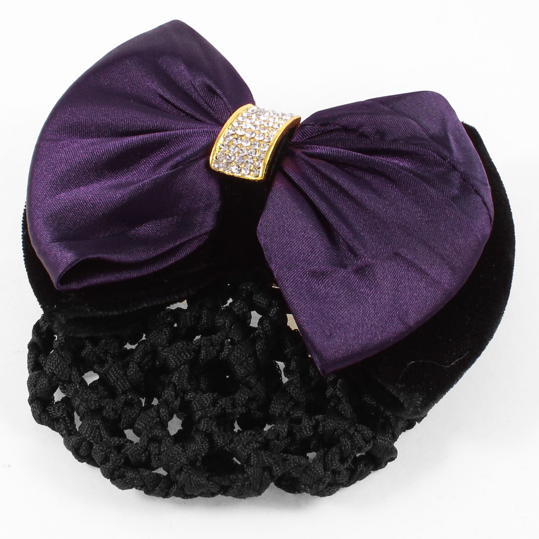 Dark Purple Double Bowknot Decor Nylon Snood Net French Hair Clip Barrette