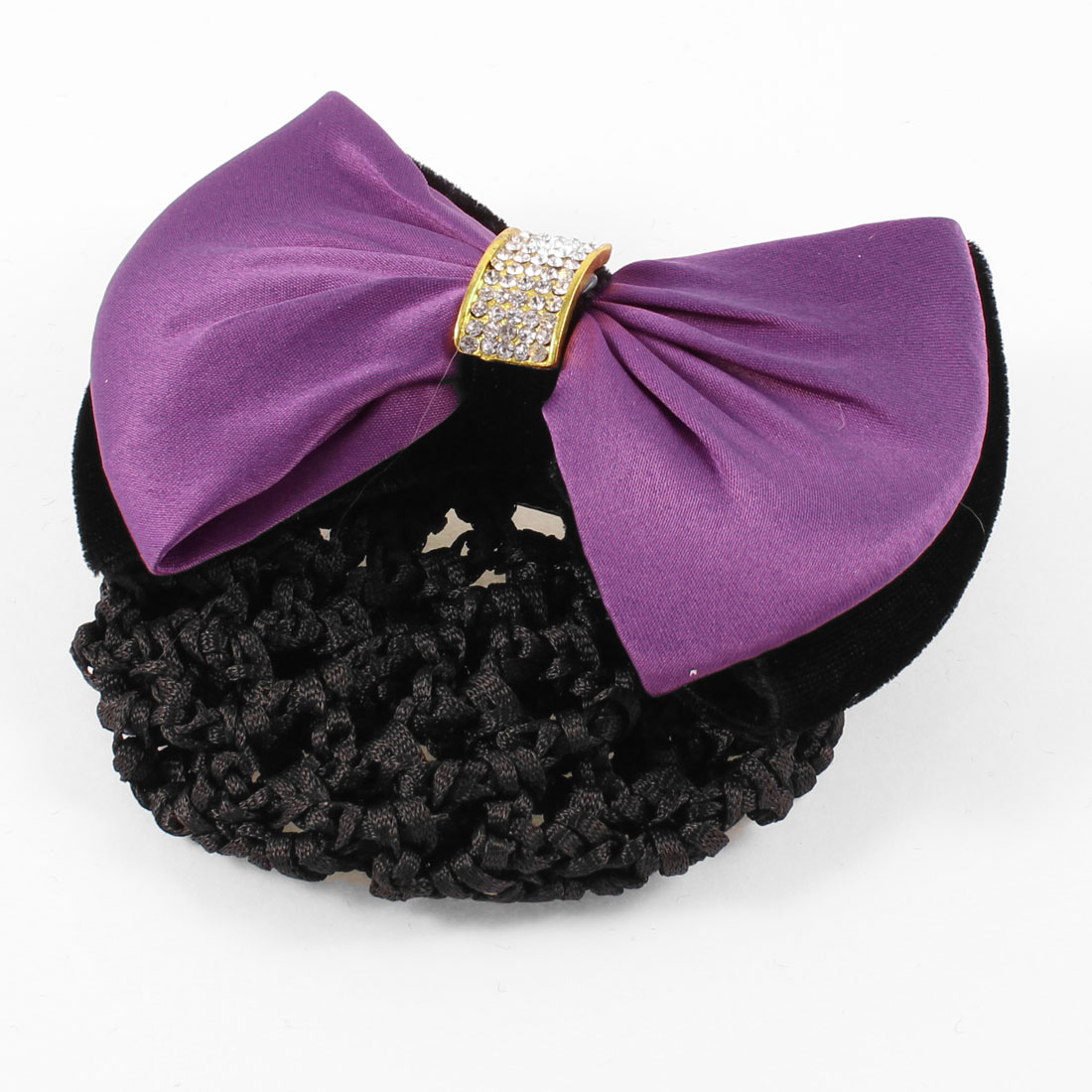 Purple Double Butterfly Knot Nylon Snood Net French Hair Clip Barrette