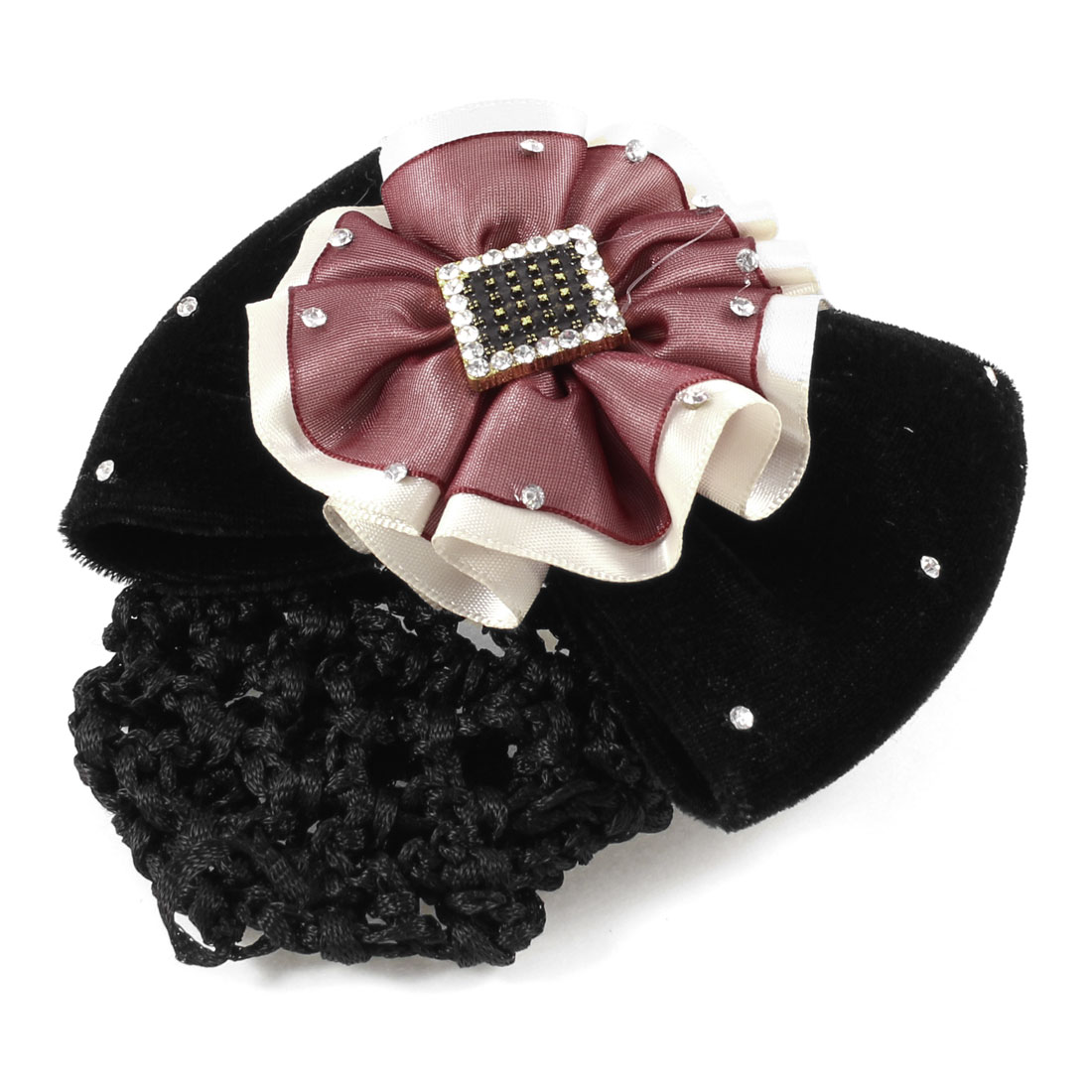 Butterfly Knot Decor Burgundy Beige Pleated Flower Snood Net French Hair Clip