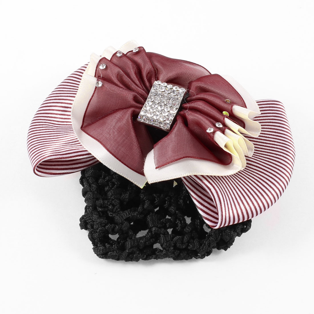 Burgundy White Ruffled Striped Bowknot Snood Net French Hair Clip Barrette