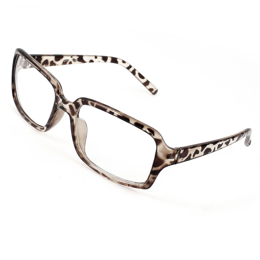 Leopard Pattern Frame Clear Rectangle Lens Full Frame Plastic Glasses for Adult