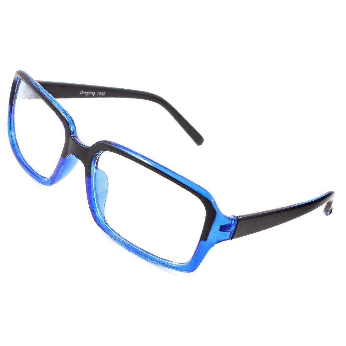 Clear Rectangle Lens Black Blue Full Frame Plastic Glasses for Adult
