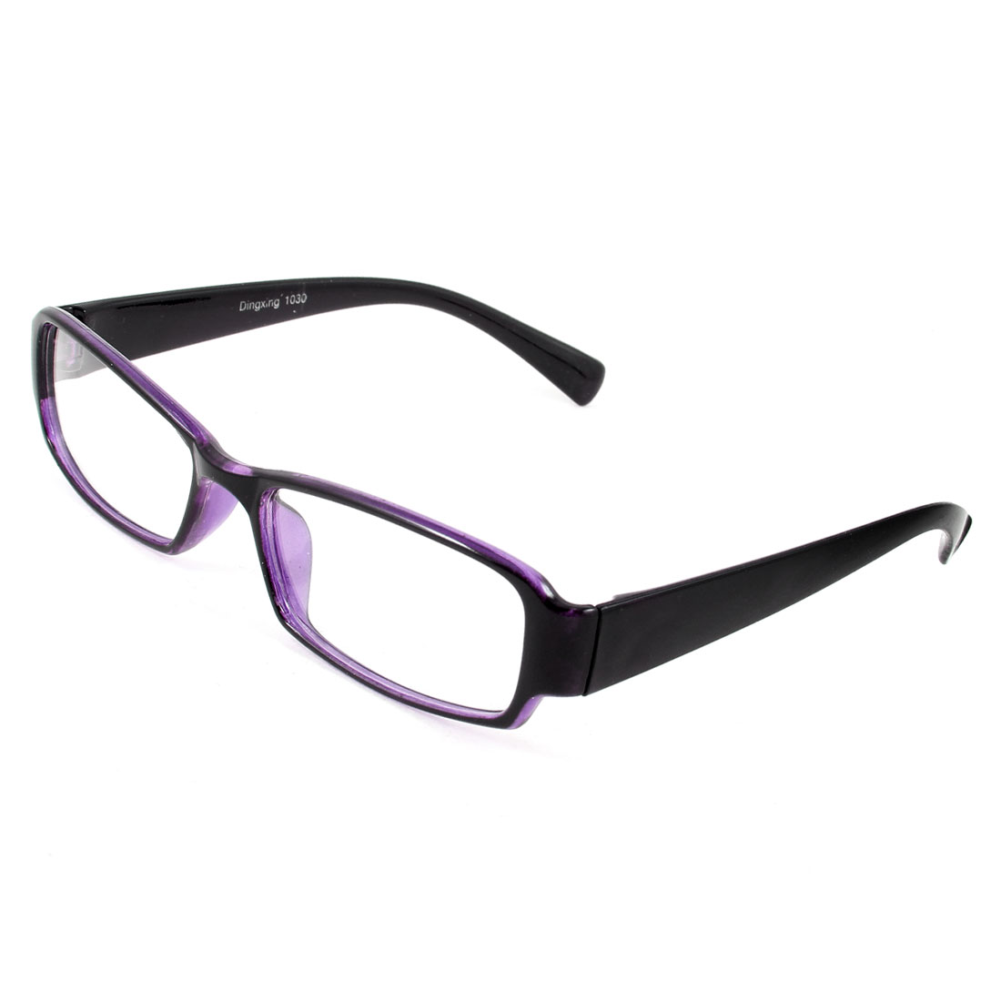 Clear Rectangle Lens Black Purple Full Frame Plastic Glasses for Adult
