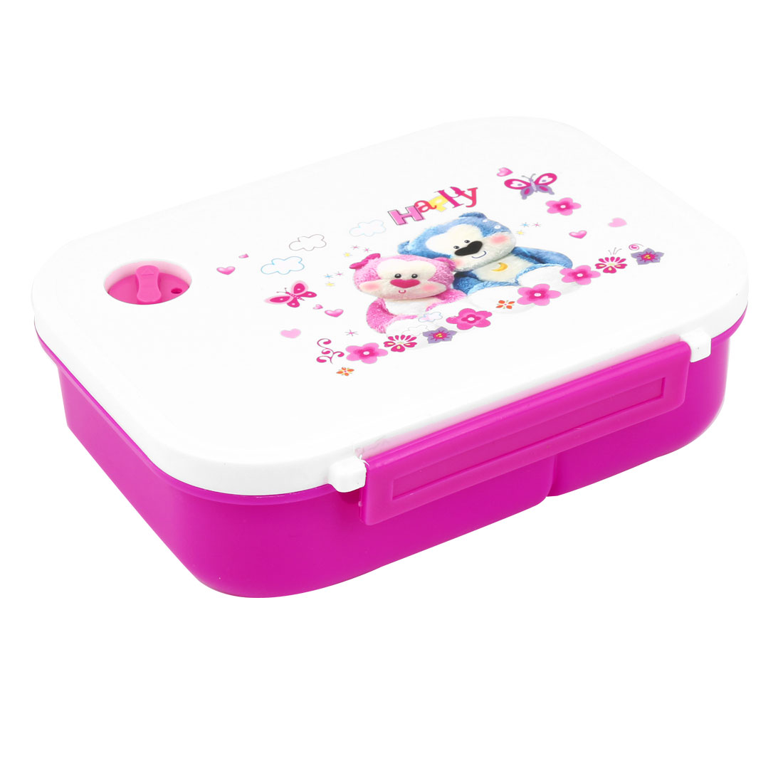 Household Plastic Spoon Rectangle Plastic Outdoor Dinner Lunch Box Fuchsia White