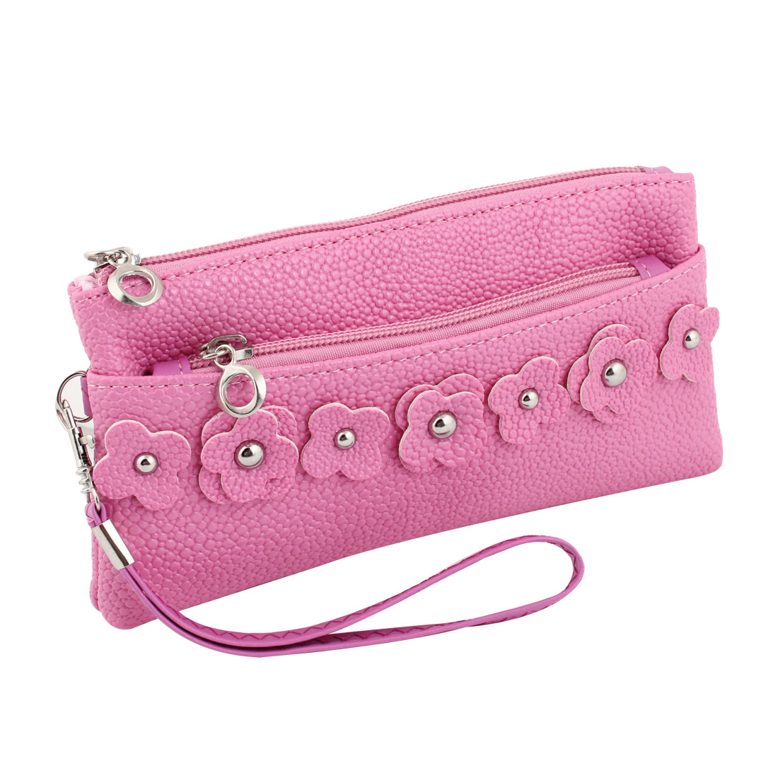 Flower Detail Zipper Closure Three Compartments Fuchsia Wallet Purse for Women