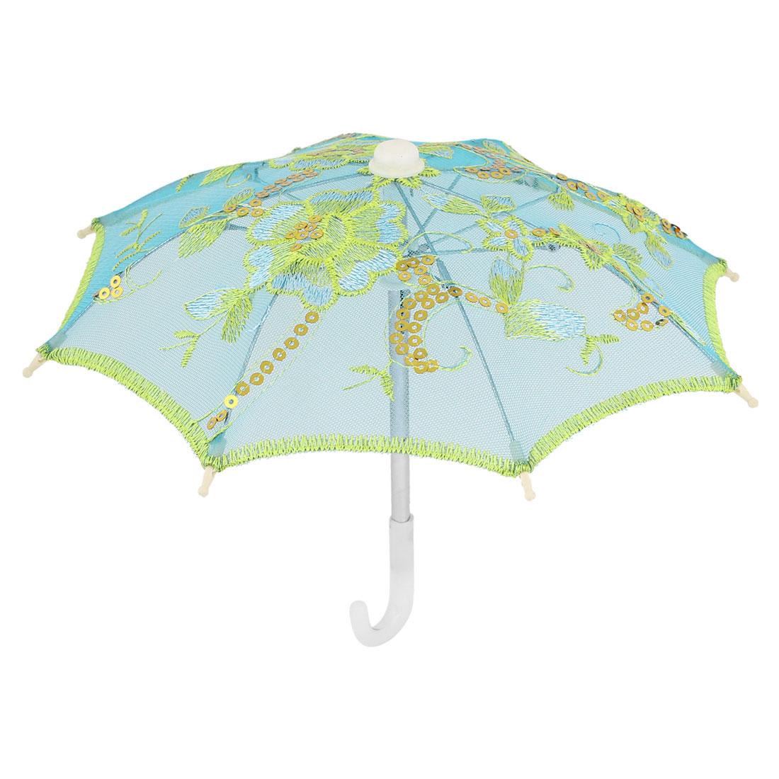 Children Blue Gold Tone Nylon Mesh Floral Embroidery Mini Umbrella Ornament