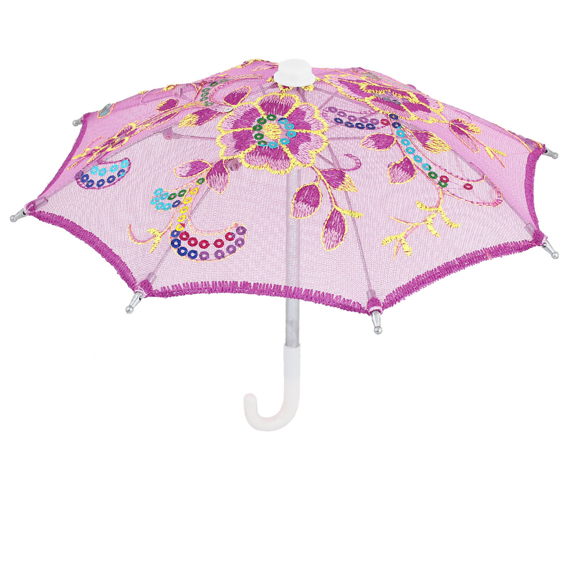 Fuchsia Nylon Meshy Floral Embroidery Mini Umbrella Ornament for Children