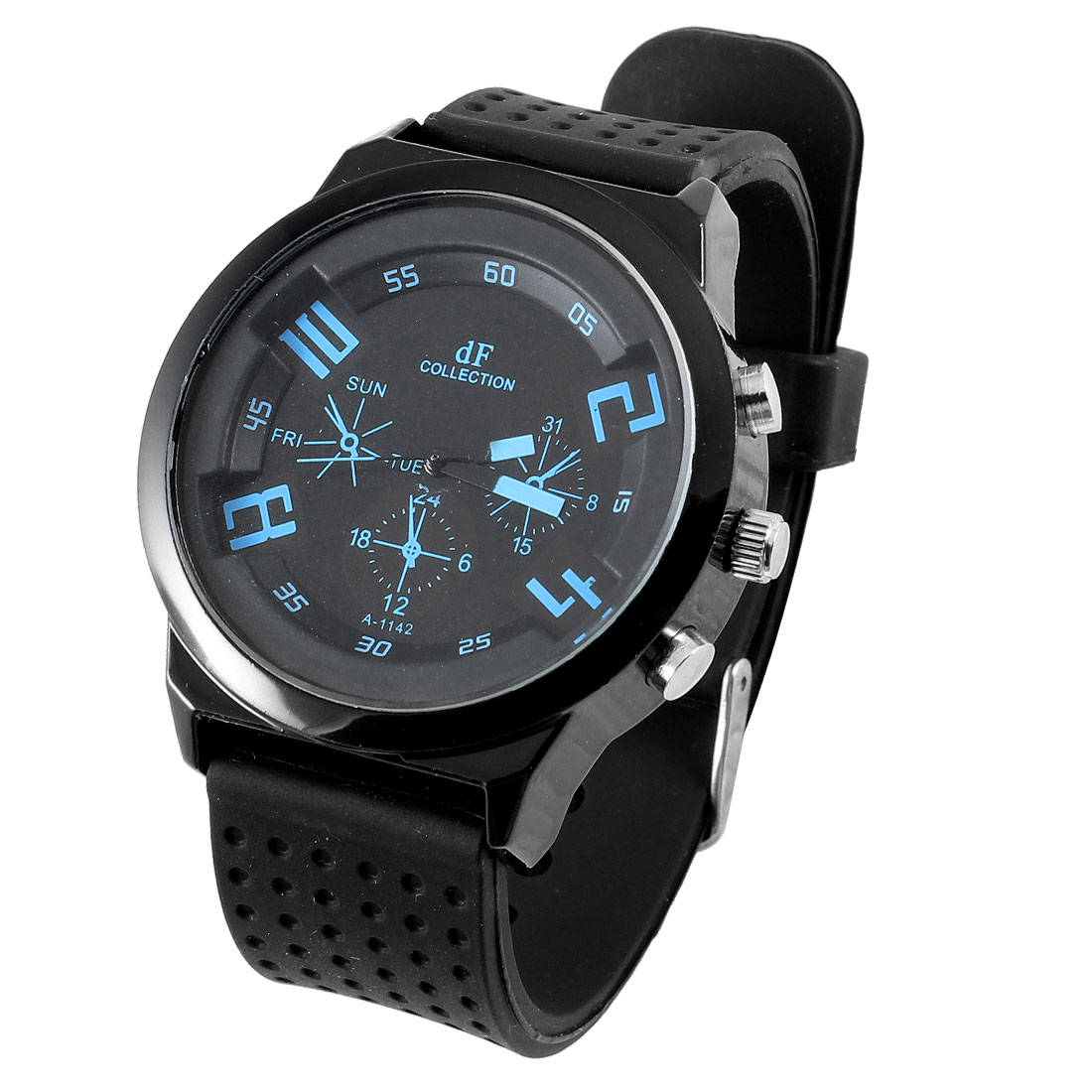 Men Round Design Dial Black Dotted Adjustable Flexible Silicone Band Sport Watch