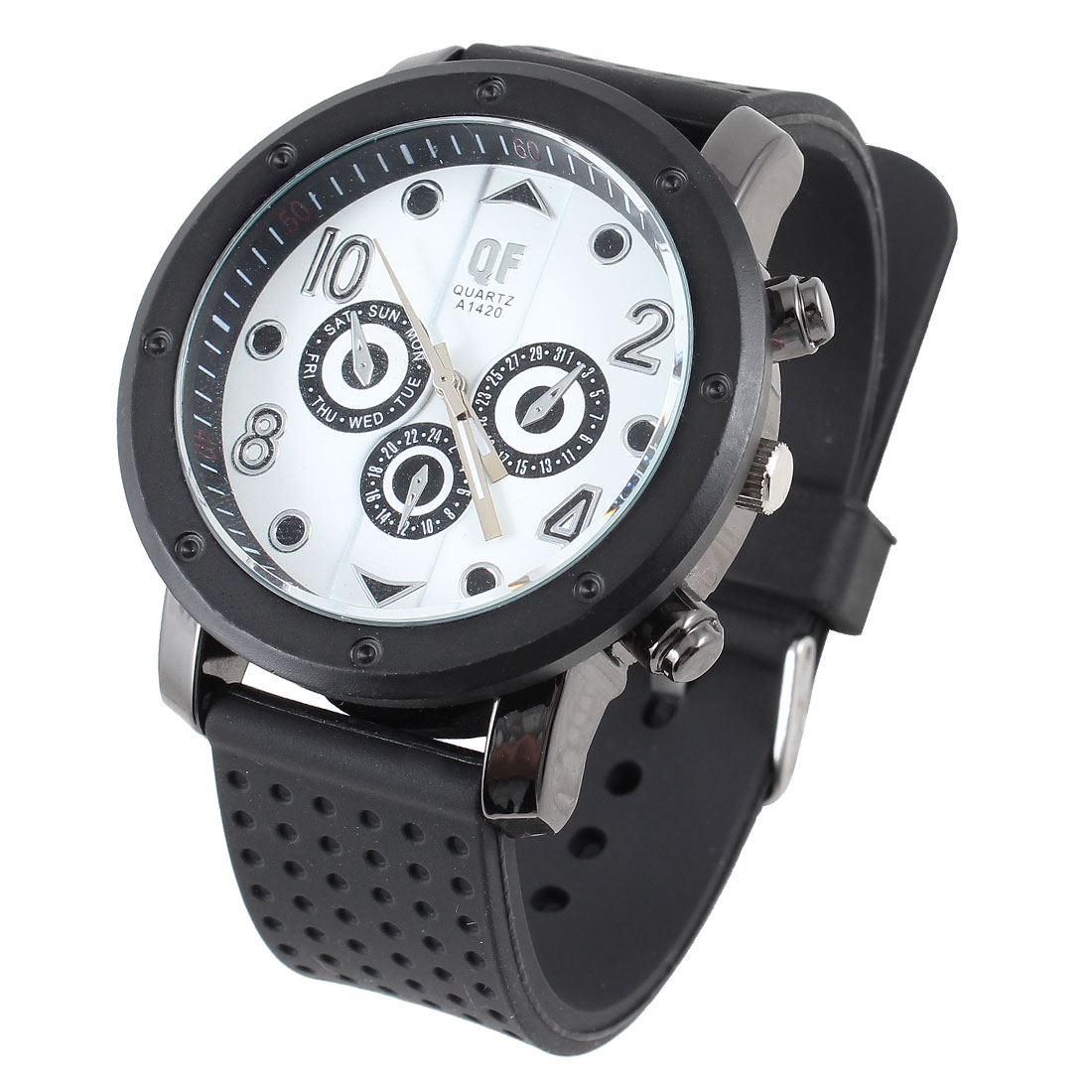 Men White Round Dial Black Dotted Adjustable Silicone Band Sport Watch