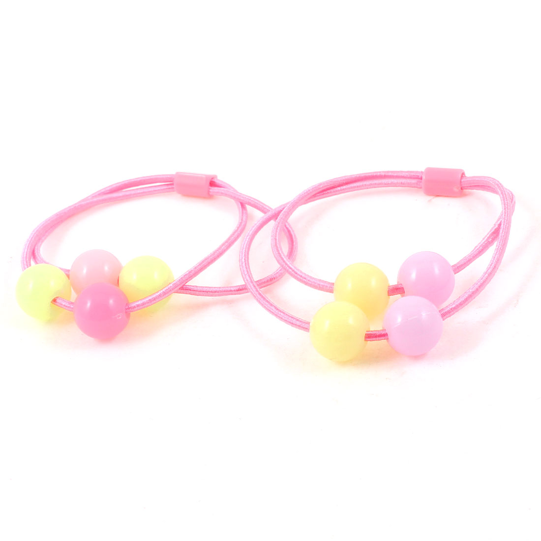 2 Pcs Purple Heart Plastic Beads Detail Stretch Hair Band Ponytail Holders