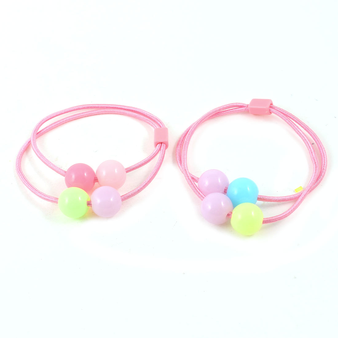 Colorful Round Beads Pink Elastic Band Hair Tie Ponytail Holder Pair