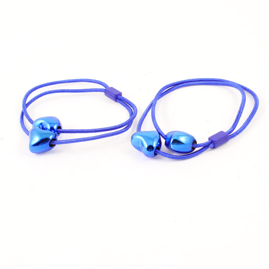 Blue Heart Shape Faux Beads Decor Stretch Hair Tie Ponytail Holder Pair