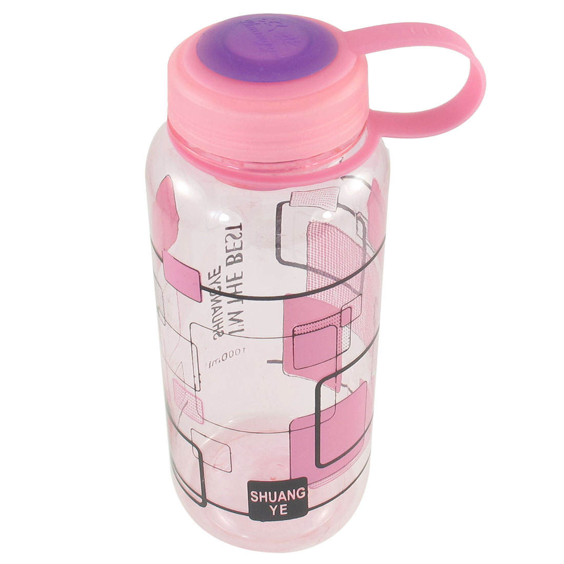 Cylinder Shape Grid Pattern Pink Clear Plastic Water Drink Bottle 1000ml