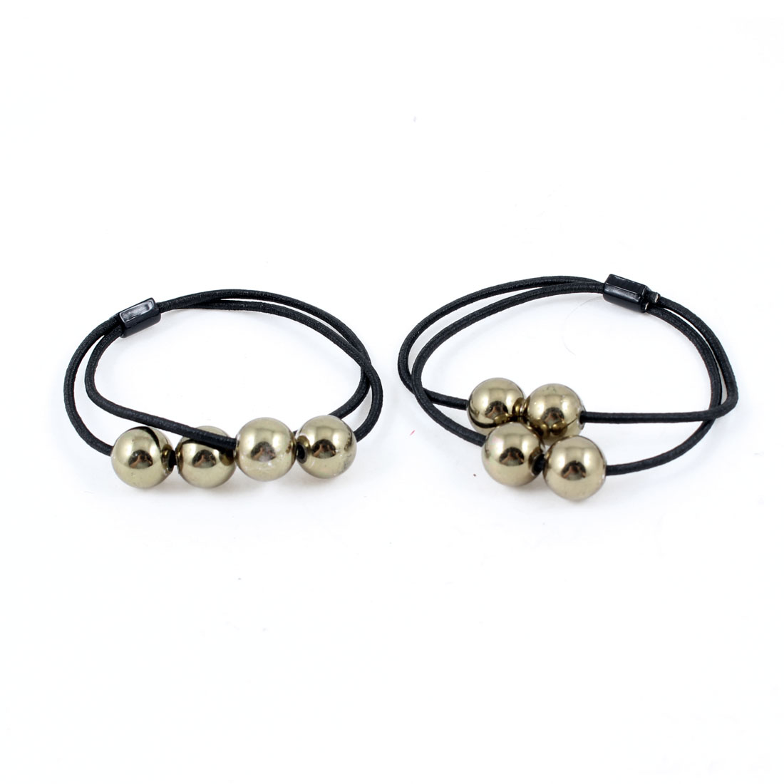 Bronze Tone Round Faux Beads Decor Black Hair Band Ponytail Holder Pair