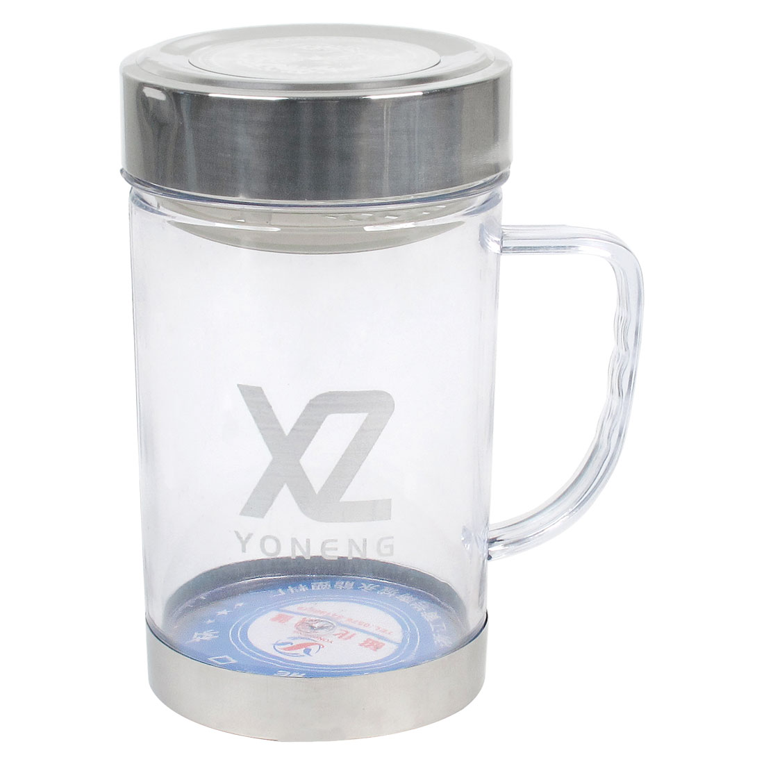420ml Portable Silver Tone Cap Clear Plastic Water Bottle Container Holder