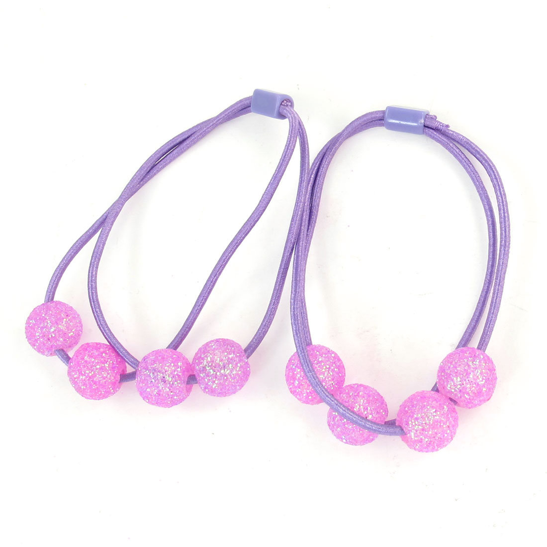 Pink Glitter Round Plastic Beads Accent Flexible Hair Band Ponytail Holder 2 Pcs