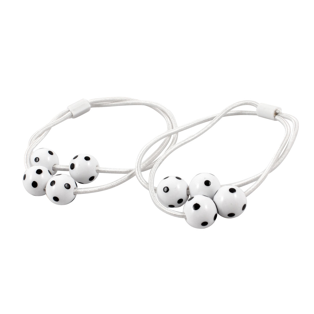 Plastic Circular Faux Beads Decor Elastic White Ponytail Holder Pair