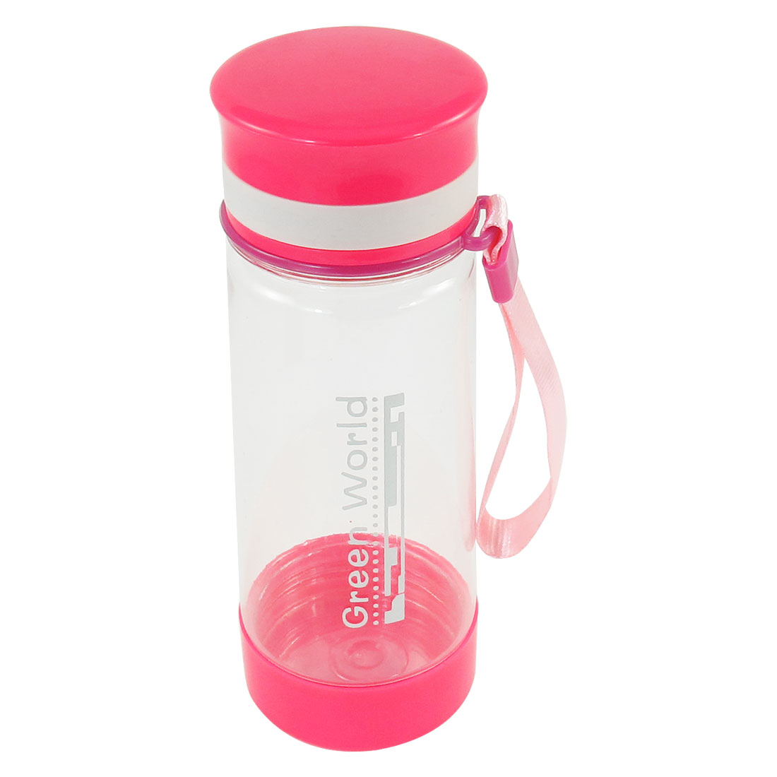 Travel Round 350ml Capacity Fuchsia Lid Clear Plastic Water Drink Bottle Cup