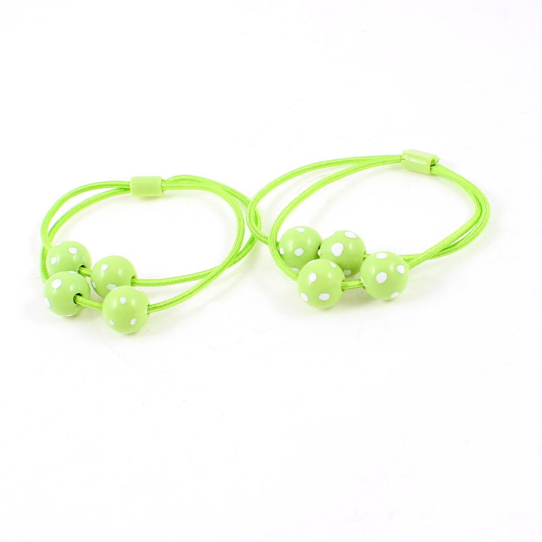 2 Pcs Round Plastic Beads Detail Green Rope Hair Tie Ponytail Holder