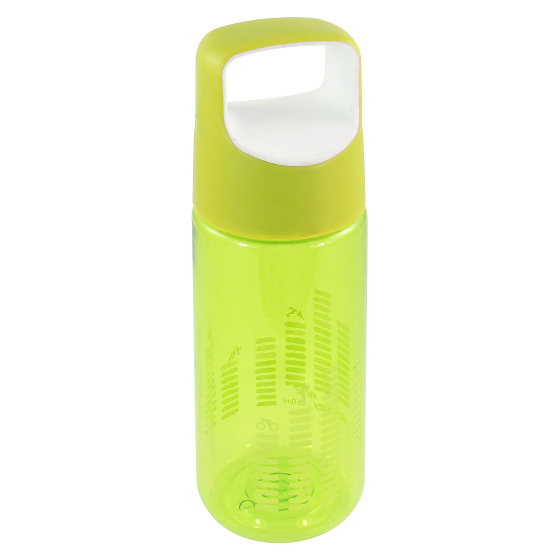 Travel Round 550ml Capacity Plastic Water Drink Bottle Cup Green Clear