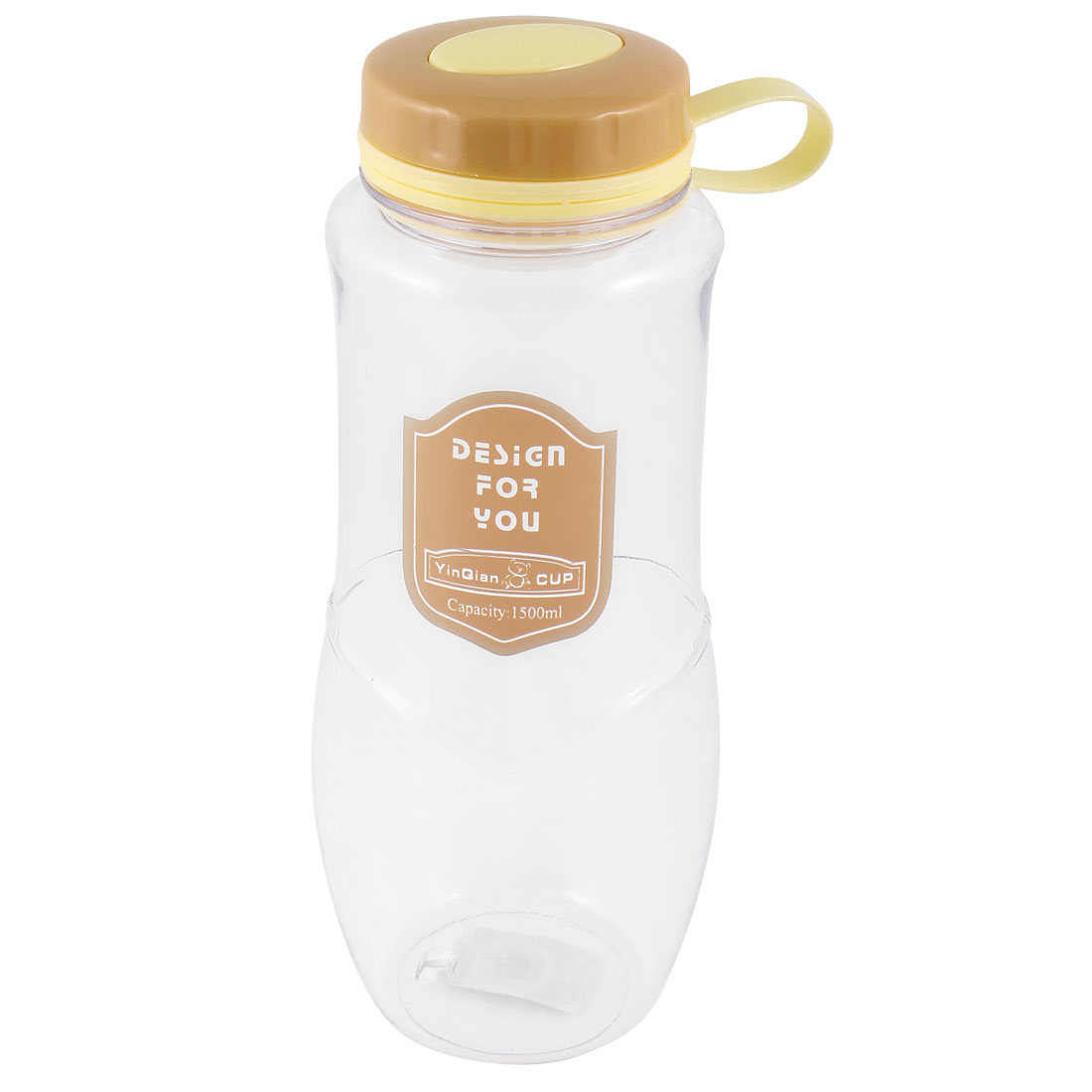 1500ml Pale Orange Clear Portable Plastic Sports Drinking Water Bottle