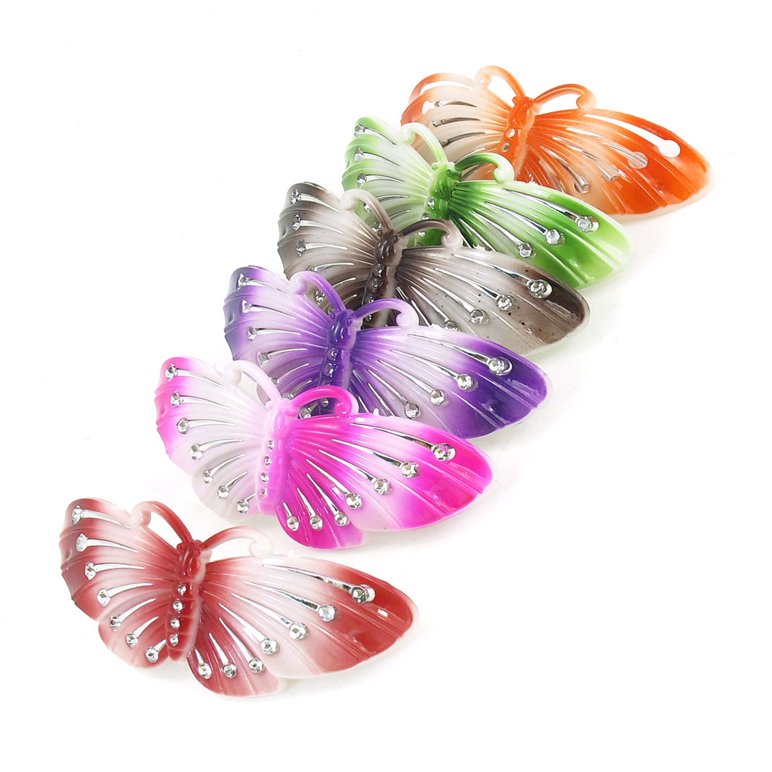 Lady Colorful Faux Rhinestone Decor Butterfly Design Metal Hair Clip 6 Pcs